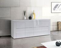 Credenza Moderna, Madia di Design, 4 ante, Bianco Lucido
