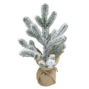 """Wonder Shop Plastic Flocked Tree 18"""" Burlap Wrapped Holiday New"""