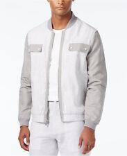 Sean John Men's Gray Stripe Lightweight Colorblocked Bomber Jacket Size XL