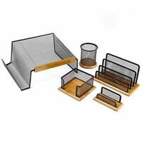 Halter Executive 5 Piece Mesh Wood Office Desk Set Pencil Cup Letter Holder Teak
