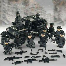 SWAT Military Lego Black Jeep Teams Figure Set City Police Weapon Blocks Car Toy