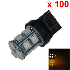 100x Yellow Car 7443 Brake Light Stop Blub 13 5050 SMD LED W3X16D ECE G002
