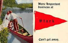"""""""Have Important Business"""" at Stark New Hampshire~Couple Boating~1914 Pennant PC"""