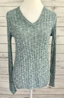 Sonoma Sweater Womens Small S Blue V-Neck Long Sleeve Knitted Pullover Cotton