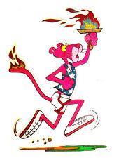 PINK PANTHER T-SHIRT IRON ON OLYMPICS CARTOON RARE UNUSED VINTAGE