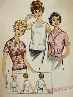 1950s Mccall 5046 Vintage Sewing Pattern Blouse Bust 36