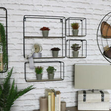 Set 4 retro metal wire wooden shelving units modern living room hallway shelves