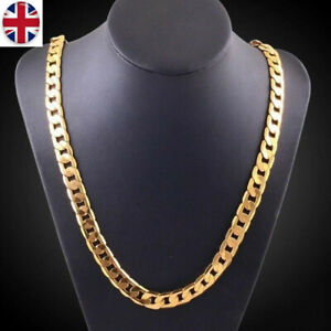 6mm Mens Boys Gold Heavy Stainless Steel Cuban Link Chain Curb Necklace UK