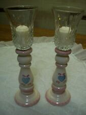 Pair Ivory Spongeware Candle Sticks & Clear Glass Votive Cups/Blue & Pink Heart
