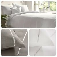Appletree Signature SALCOMBE Chevron Embroidered 100% Cotton Duvet Cover Set