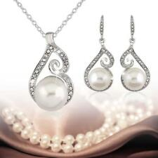 Bridal Bridesmaid Wedding Party Jewelry Set Crystal Pearl Necklace Earrings FT