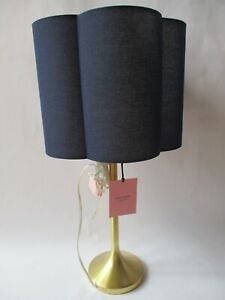 Kate Spade Brushed Gold Candlestick Table Lamp ~ Navy Blue Scalloped Shade ~ NEW