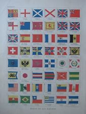 1894 Victorien Carte ~ Drapeaux de Toutes les Nations Norvège Suède Burma Japon