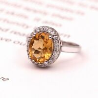 Natural Citrine Zircone Halo 925 Sterling Silver Golden Topaz Ring for Women Her