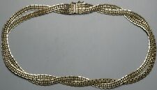 Vintage Choker Necklace Sterling Silver Mexico Weave Design 41.6g