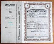 Compania ARGENTINA Navegation Mihanovich 3shares 1933 Specimen Bradbury shipping