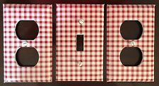 3x Red Checkered Light Switch Cover Plates Gingham Red Country Nice Set