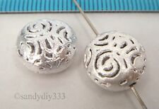 2x BRIGHT STERLING SILVER STARDUST FLOWER PUFF ROUND SPACER BEAD 12.1mm #2333