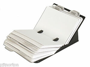 Card index filing system with 150 x A7 blank cards and index address tray