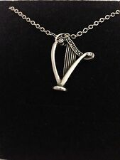 """Harp R199 English Pewter on a Silver Platinum Plated Necklace 18"""""""