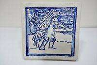 """55z42 HAND PAINTED ART POTTERY TILE blue and white Wood gatherer 6"""" square"""