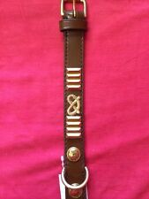 staffordshire bull terrier collar BROWN, BRASS ROPES & PLATES 20 inch long X 1