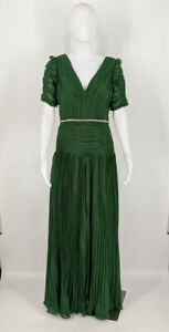 Self Portrait Women's Emerald Green Pleated Chiffon Maxi Dress Size 6 NWT