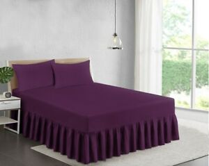 EXTRA DEEP  (25CM BOX )FRILLED FITTED VALANCE SHEET SINGLE - 4FT - DOUBLE - KING