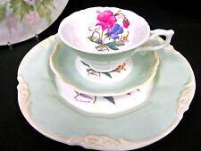 George Jones tea cup and saucer trio painted artist signed sweet pea Teacup set