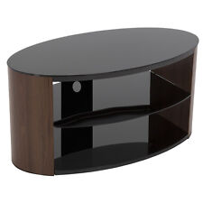"""Walnut Effect Oval TV Stand with Black Glass Top & Shelves For TVs up to 40"""""""