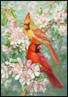 Cardinal Glory - Chart Counted Cross Stitch Pattern Needlework Xstitch DIY Craft