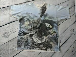 1990s Vintage Fruit of the Loom Eagle All Over Print Printed T Shirt Sz XL