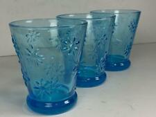 3 Embossed Blue Floral Flowers 10 oz Glasses Cups Lowball Barware HANDBLOWN
