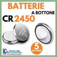 5 BATTERIE AL LITIO CR2450 3V VOLT PER OROLOGIO AUTO STOCK PILE 2450 A BOTTONE