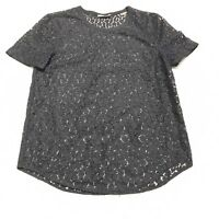 Equipment Femme Womens Black Lace Short Sleeve Top Size XS