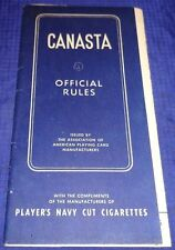 BR1534 Vtg 1950 Canasta Official Rules Fold Out Players Cigarettes