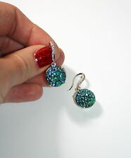 Vintage Emerald green ab sugar glass formal silver pave ear wire drop earring
