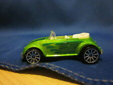 2007 Hot Wheels Mystery Car VW Bug Convertible Green 10 Spoke Dark Green Flames