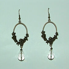 LONG FACETED CLEAR GLASS DROP *ANTIQUE GOLD* PLATED FLOWER HOOP EARRINGS FH