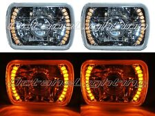 7X6 Amber LED Halo Projector Halogen Crystal Headlights Angel Eye Light H4 Bulbs