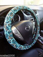 Handmade Steering Wheel Cover Aqua Green and Brown Circles