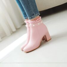 Sweet Womens Mary Janes High Heels Beads Side Zipper Shoes Ankle Boots Pumps