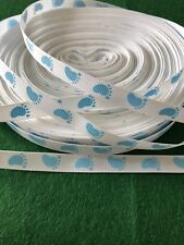 Brand New - 2 Metres Blue & White Baby Footprint Grosgrain Ribbon - 10mm