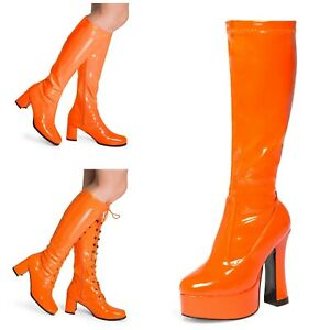 Orange Women's Ladies Knee High Disco Platform Standard Eyelet GoGo Boots