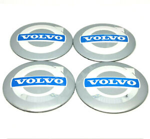 4x Volvo Alloy Wheel Badge Sticker 56mm Silver & Blue C30 C70 S40 V50 S60 V70