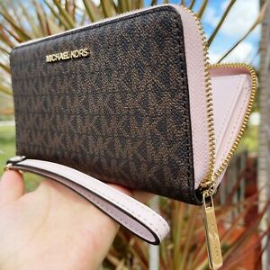 Michael Kors Jet Set Phone Case Wallet Wristlet Brown Signature Powder Blush