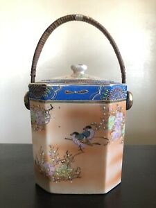 Signed FOREIGN Japanese VTG Antique Porcelain Lidded Biscuit Octagonal Art Jar