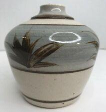 "New ListingVintage Studio Art Pottery Artist Signed Dated Weed Pot Vase 4"" Blue Brown Euc"