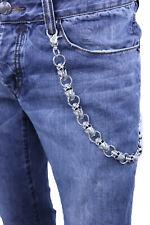 Men Biker Key Wallet Chain Ring Silver Metal Skull Skeleton Charm Day Night Wear