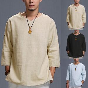 INCERUN 100% Cotton Men's V Neck Long Sleeve T Shirt Holiday Baggy Tops T Shirt